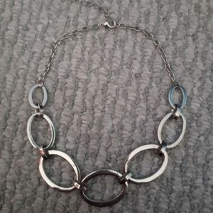 Silver Hoop Loose Choke Style Necklace